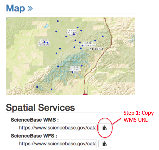 View Data using ScienceBase Web Map Services (WMS