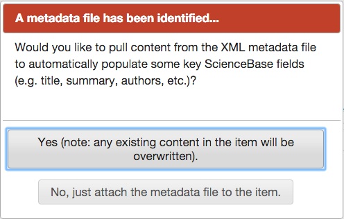 Screenshot of ScienceBase interface after a metadata file is uploaded, showing options to auto-populate metadata to the landing page.