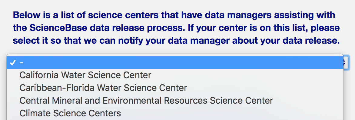 screenshot of dropdown to choose science center