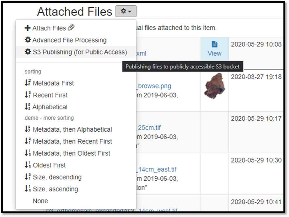 A screengrab of the advanced file interface that allows a user to copy the files attached to a ScienceBase item to a publicly accessible AWS S3 bucket