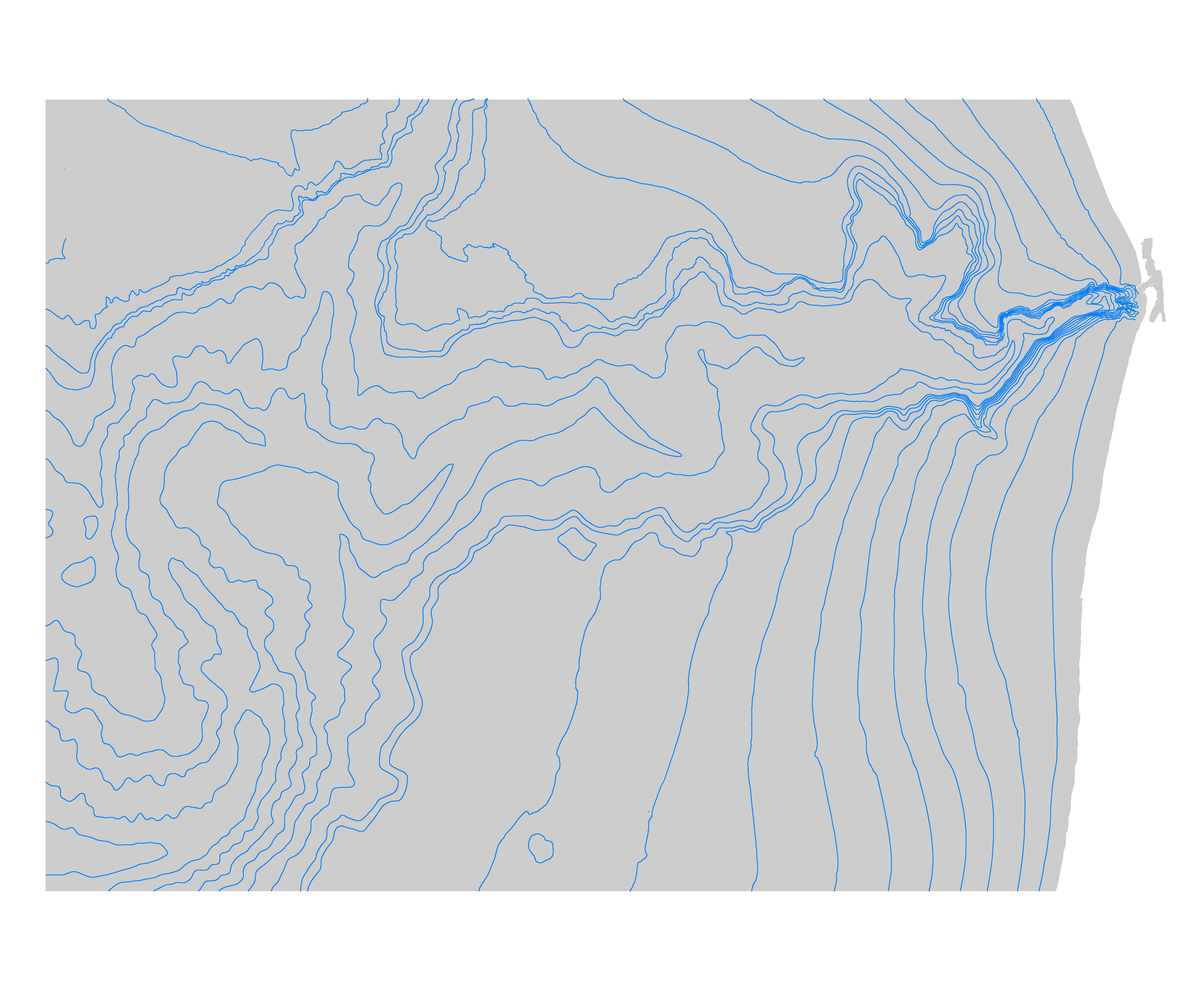 Bathymetric contours of Monterey Canyon and Vicinity.