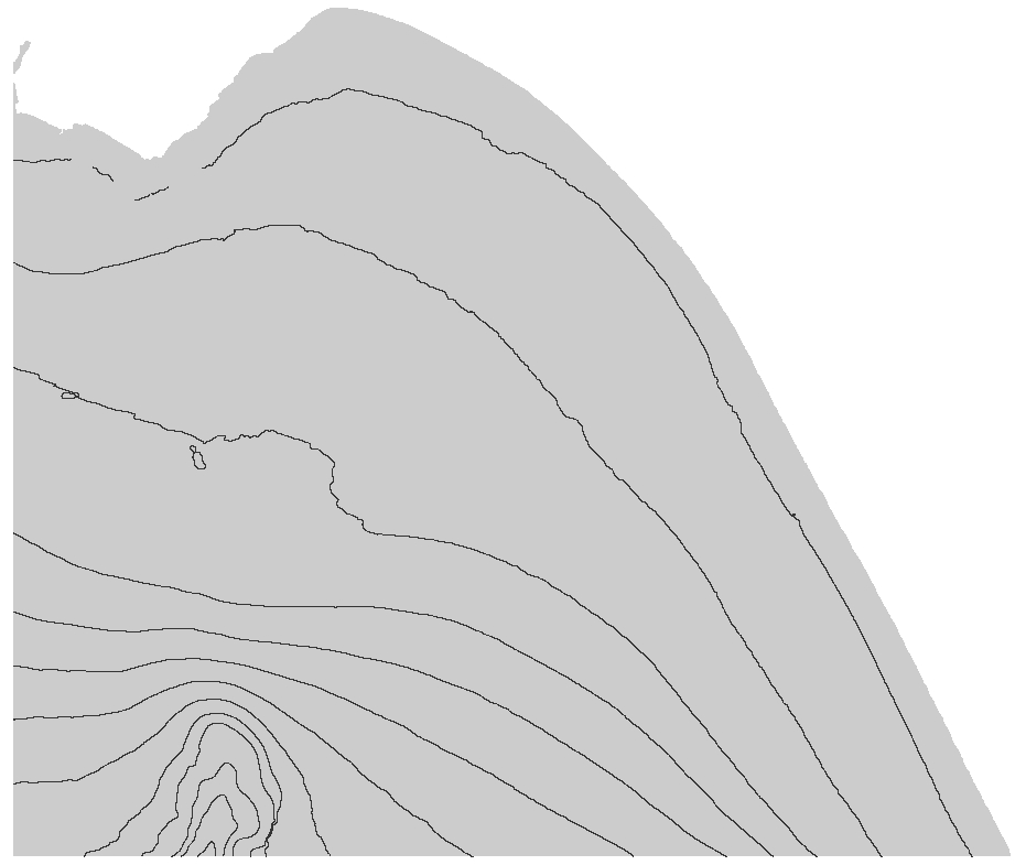 Contours derived from bathymetry map of offshore Aptos.
