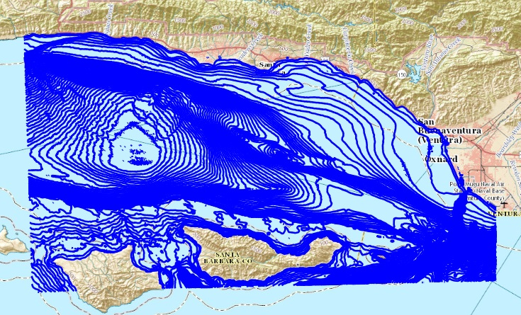 Bathymetric contours of Eastern Santa Barbara Channel and vicinity.
