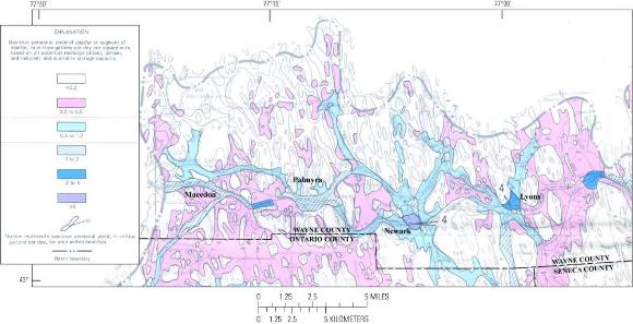 Fairport-Lyons channel (in blue) and inter-drumlin outwash channels (in pink)