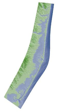 Color hillshade image of terrain model of Barnegat Bay, New Jersey
