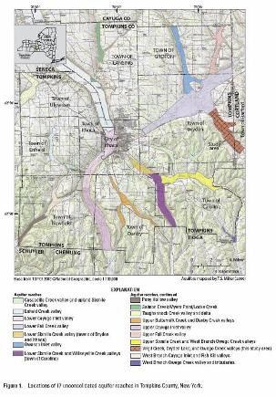Locations of 17 unconsolidated aquifer reaches in Tompkins County, New York