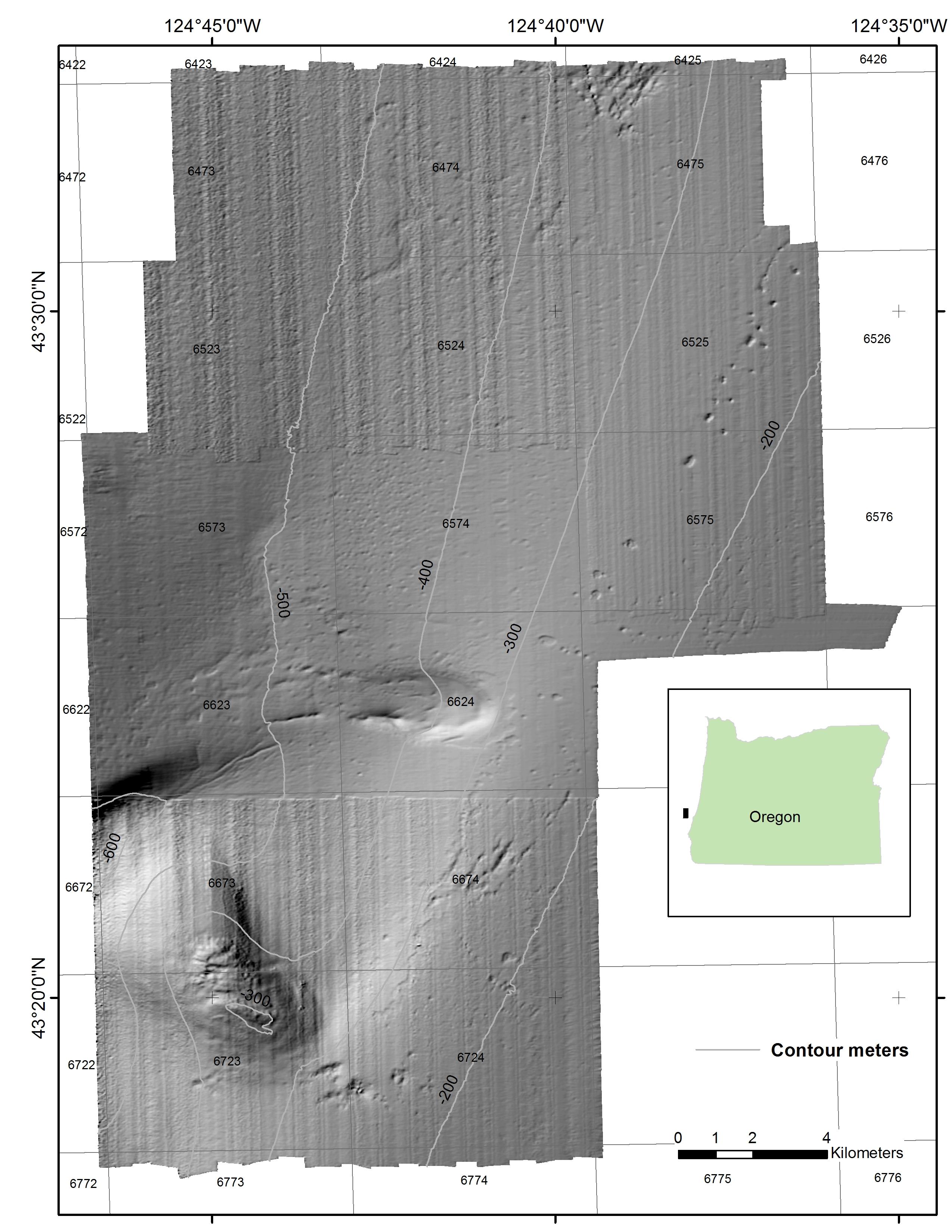 Bathymetry hillshade map Oregon OCS Floating Wind Farm Site.