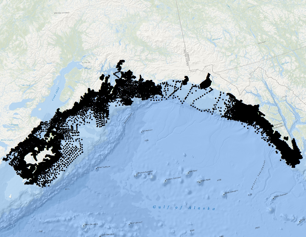 map of sample points used to create seafloor character map