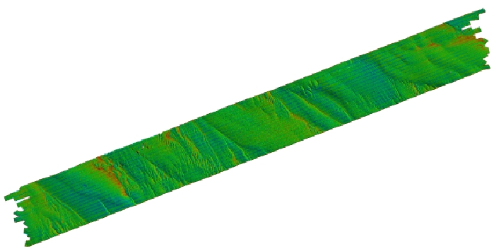 Image of shaded-relief bathymetry colored by backscatter intensity.