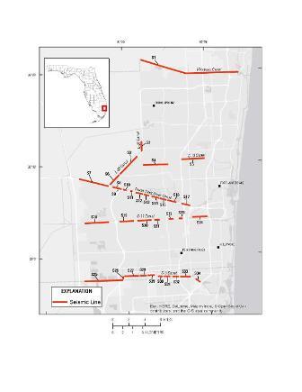 Map of Broward Seismic Lines