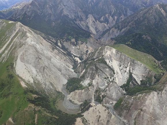 Shallow landslides triggered by the 2016 Kaikoura Earthquake in New Zealand.