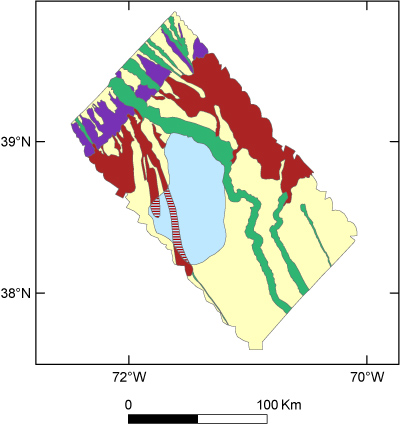 Browse graphic of sea-floor environments in the Hudson Canyon region.