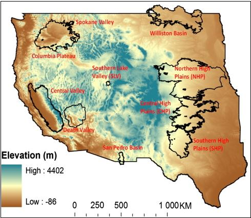 Western US-study region shown with elevation and study basins