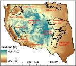 Western US-study region shown with elevation and study basins.JPG from ScienceBase Item