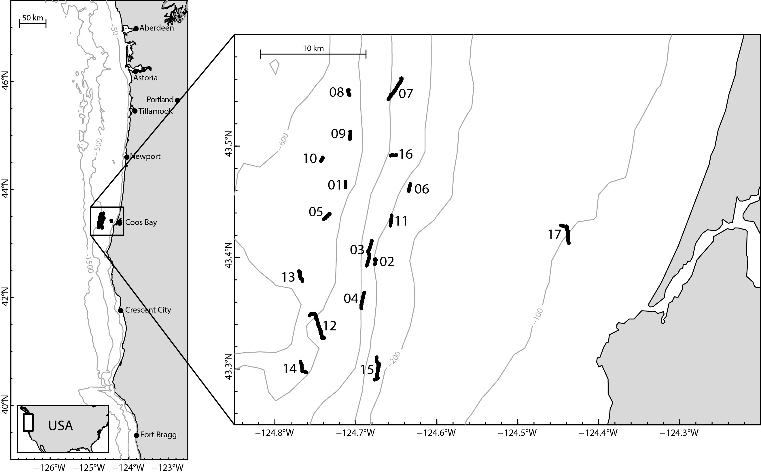 Map showing dive locations for video collection during the Oregon OCS survey (USGS 2014-607-FA).