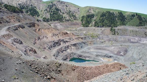 Kutessai II REE-RM mineral deposit, NE of Bishkek, Kyrgyz Republic, 29 May 2013.