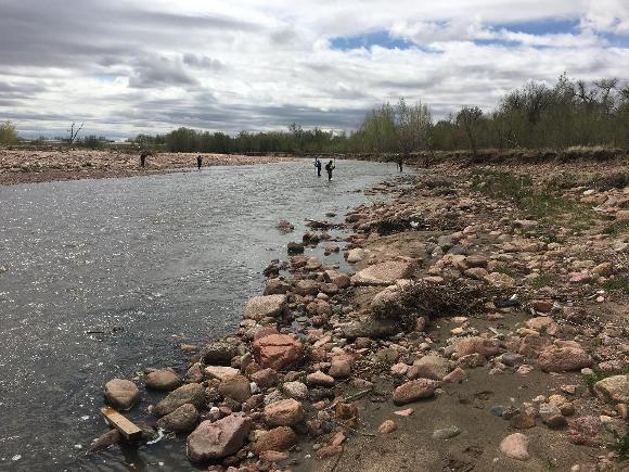 USGS Field Crews Survey Fountain Creek Study Area 1 on May 3, 2017