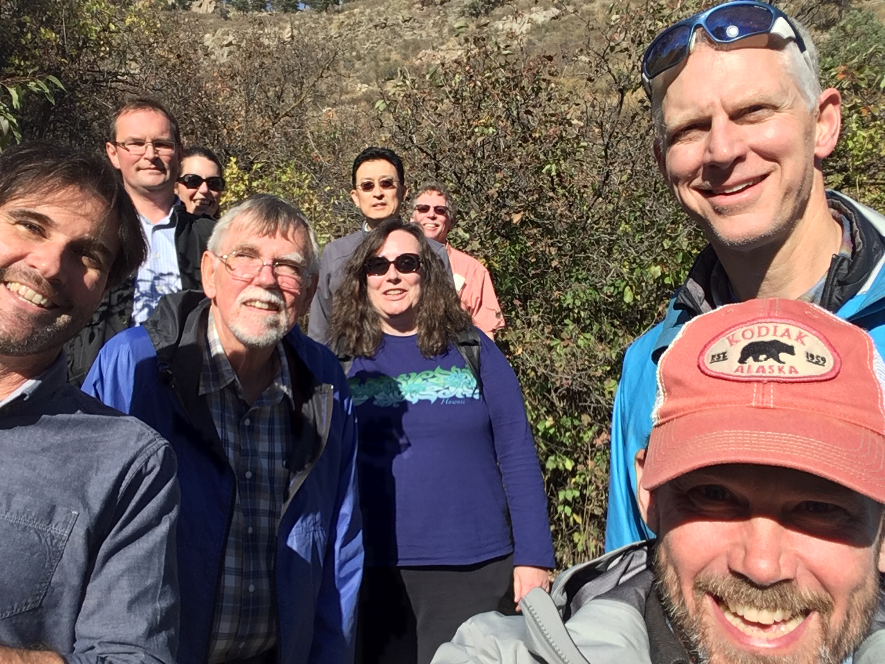"Title: ""Part of the Tsunami Working group on a hike"""