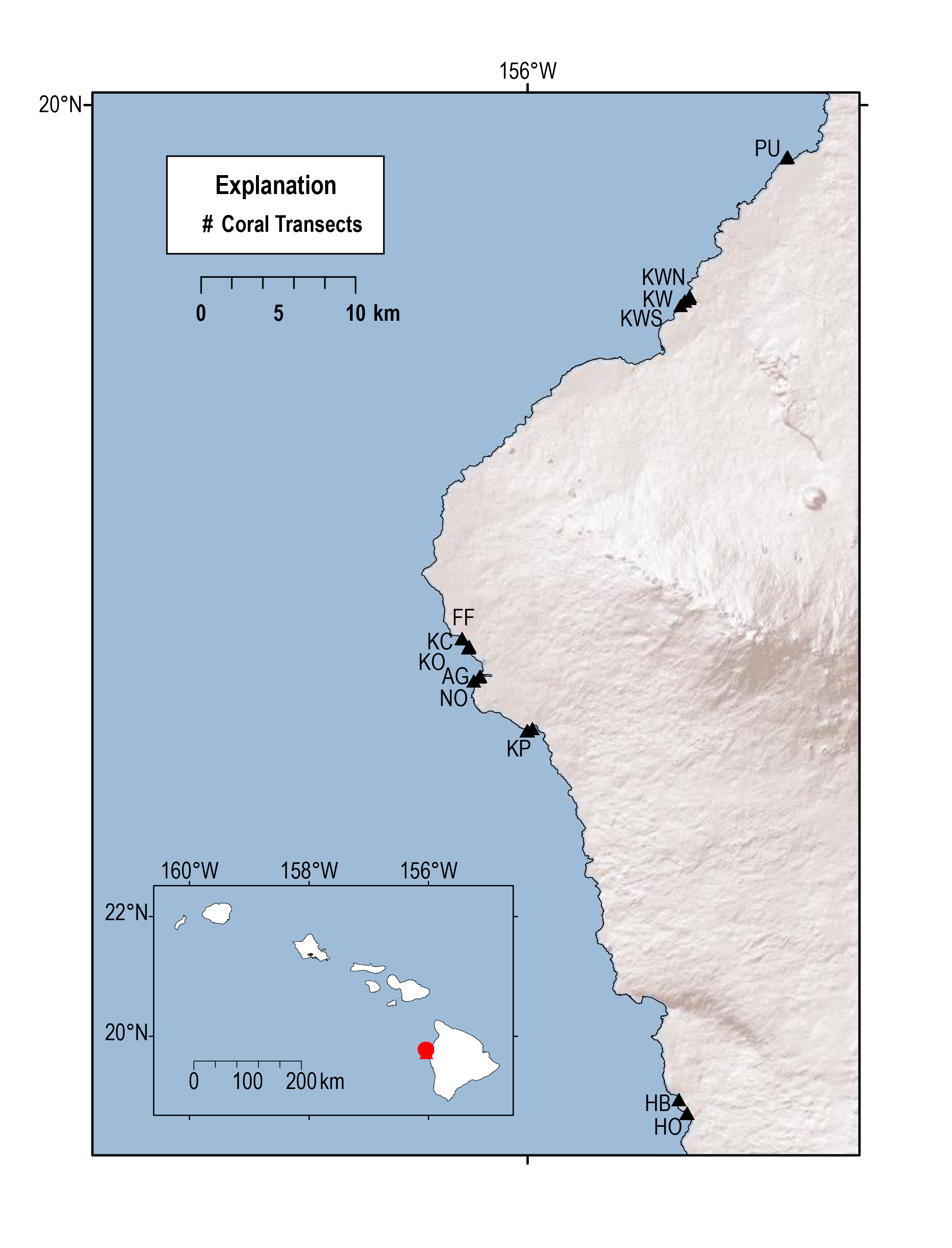 map of transect locations
