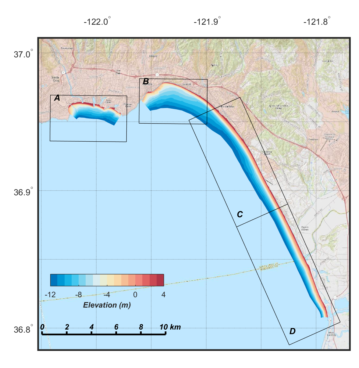 image map showing overview of digital elevation models (DEMs) of northern Monterey Bay, color-coded to show elevation
