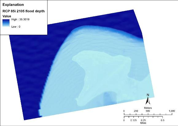 Wave-driven flood water depth for RCP scenario 8.5+ice sheet collapse, year 2105