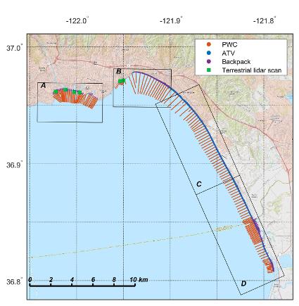 Map showing survey lines for Monterey Bay, September/October 2016