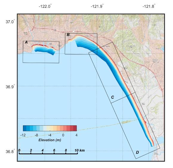 Map showing DEMs for Monterey Bay, September/October 2016