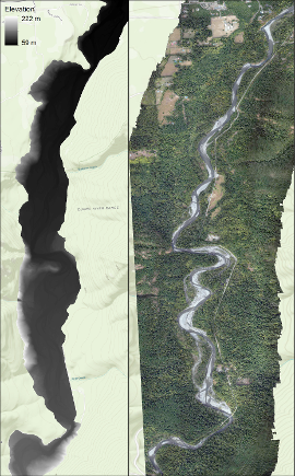 Digital elevation model (left) and orthomosaic (right) of the middle Elwha River