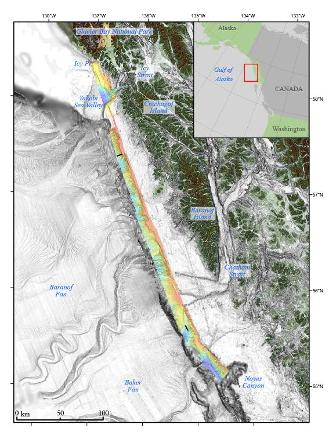 Bathymetric terrain model of Queen Charlotte Fault area, with MCS lines in black