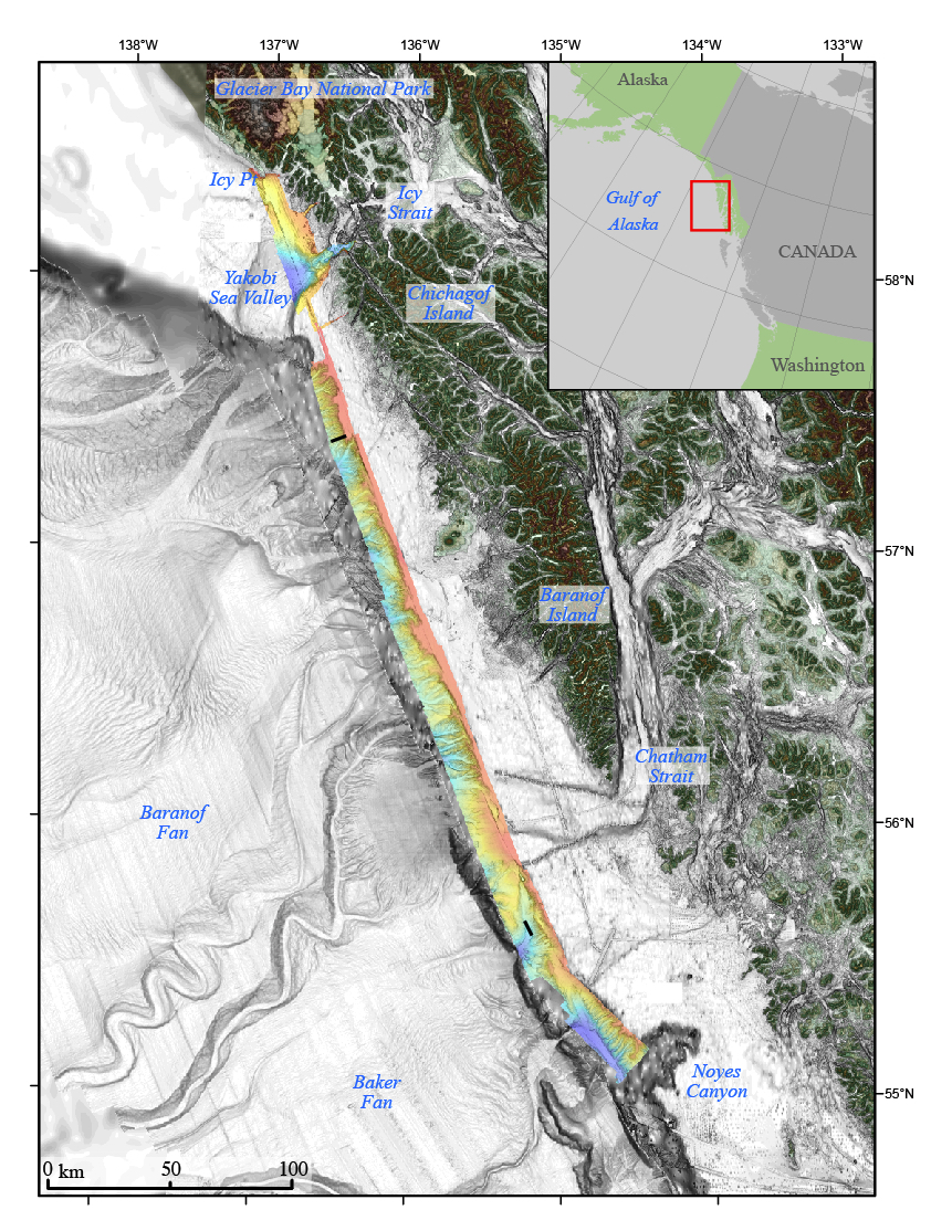 Thumbnail image of bathymetric terrain model of Queen Charlotte Fault area with MCS lines shown in black, southeastern Gulf of Alaska.
