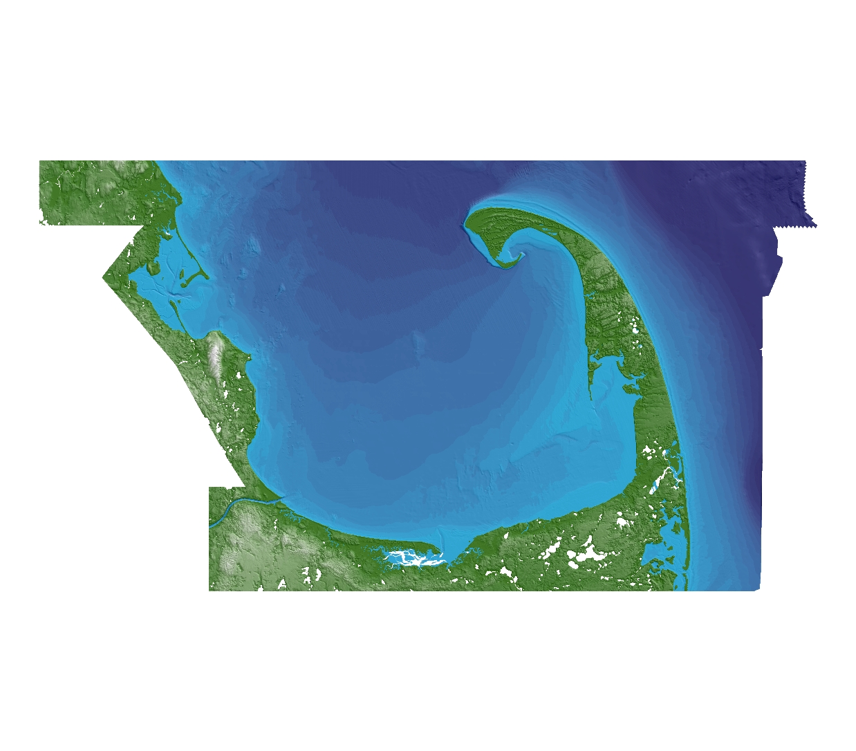 Preview image of the terrain model of Cape Cod Bay, Massachusetts. File is located in the compressed zip file.