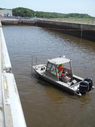 USGS survey boat in auxiliary lock during dye study (Credit: A. Cupp, USGS)