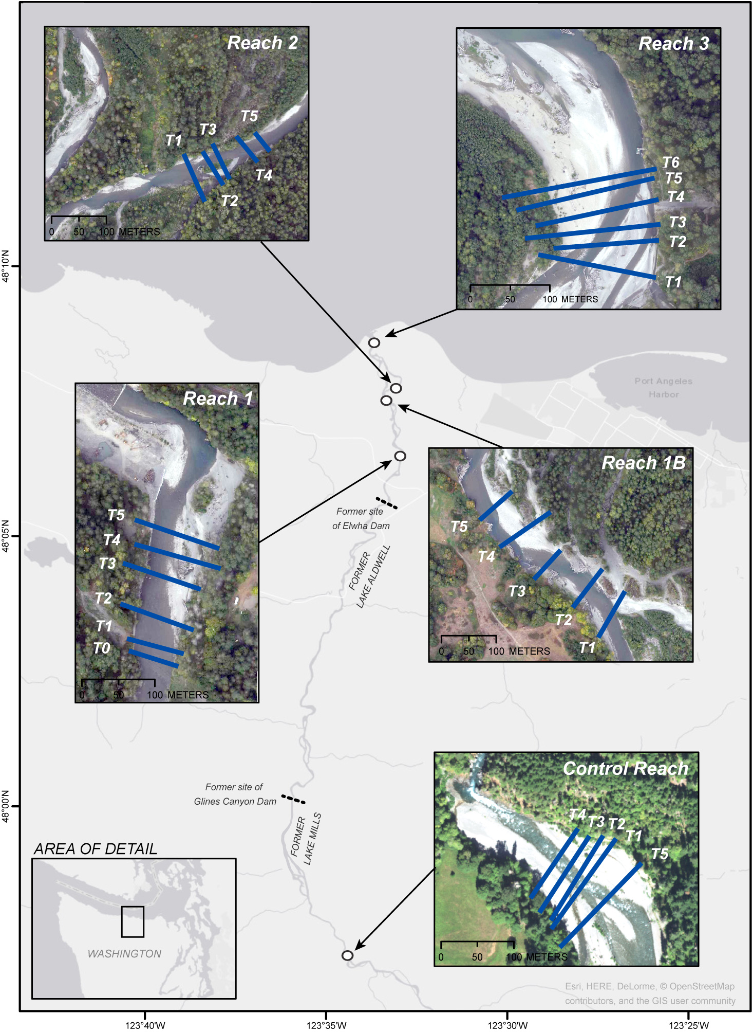 Image map showing locations of study reaches and transects along the Elwha River, Washington