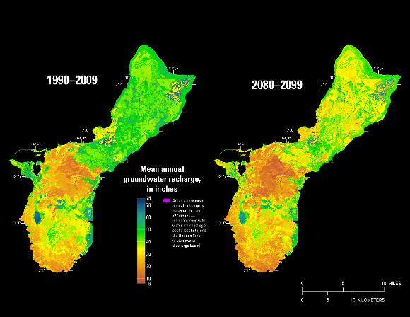 Mean annual groundwater recharge, Guam, 1990-2009 and 2080-2099.