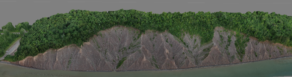 Image of the Chimney Bluffs survey area point cloud