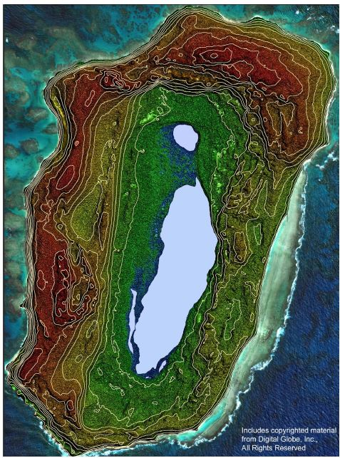 Laysan Island topography (PhotoSat copyrighted image, used with permission)