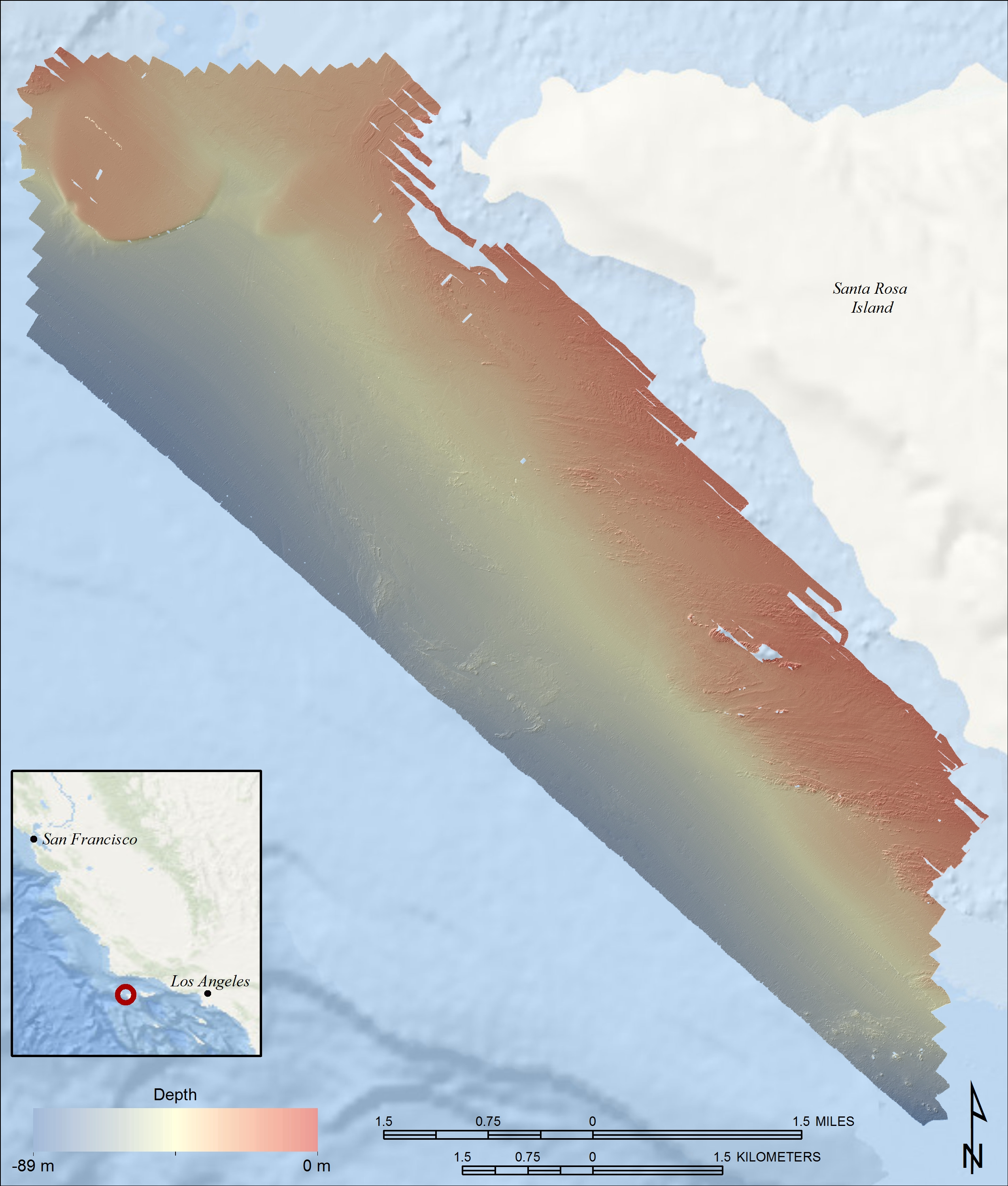 Image map of study area with bathymetric DEM