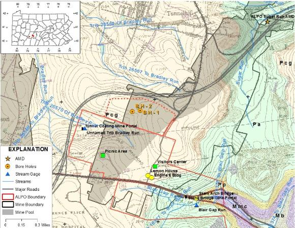 Figure 1. Map showing topography, bedrock geology, and major landmarks.