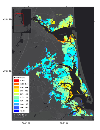 Graphic that shows elevation in marsh units of PIEPR salt marsh complex.