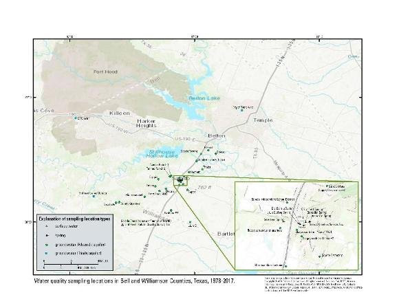 Water-quality sampling locations in Bell County, Texas