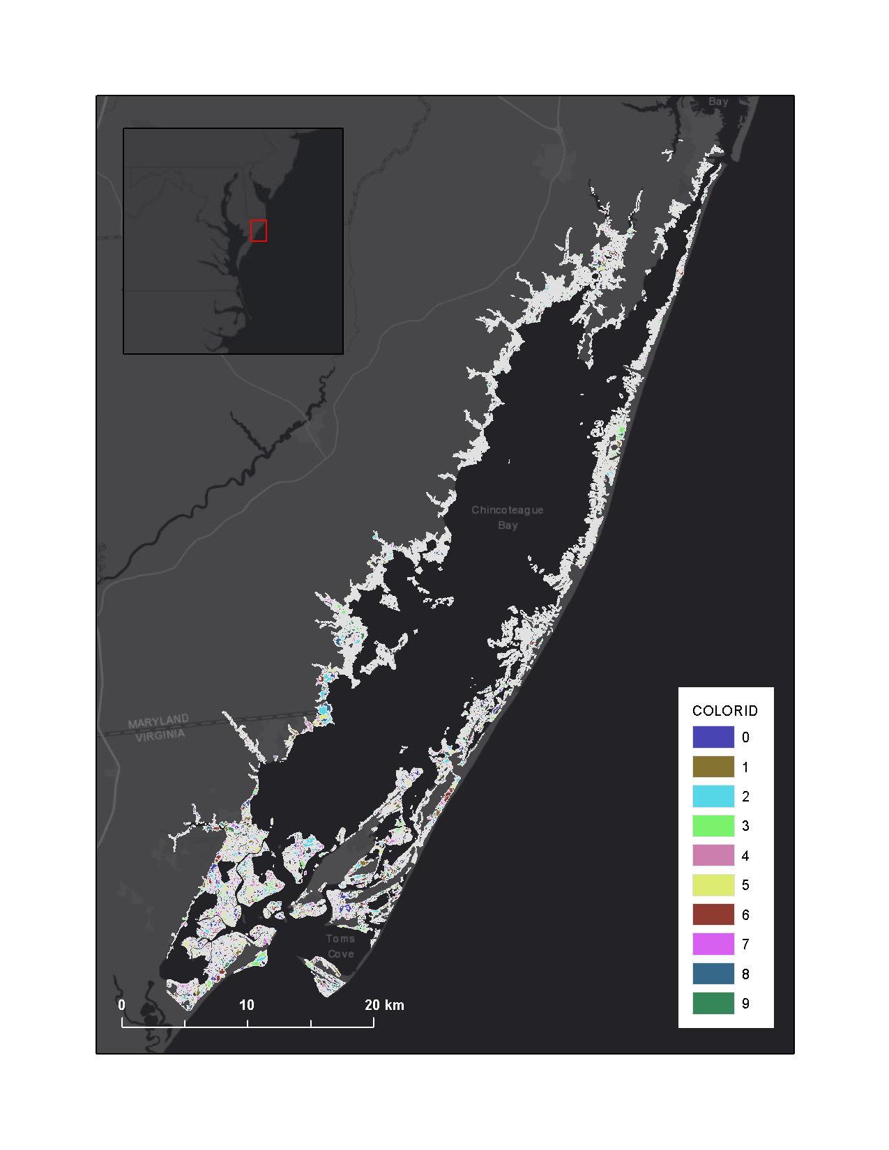 Graphic that shows conceptual marsh units of ASIS and Chincoteague Bay salt marsh complex overlaying Esri basemap.