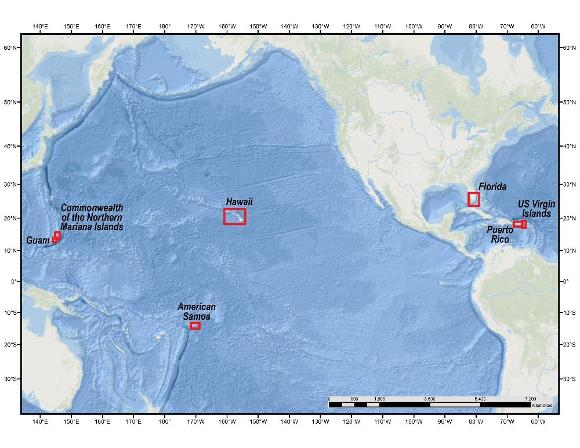 Location map of coral reef areas included in this data release.