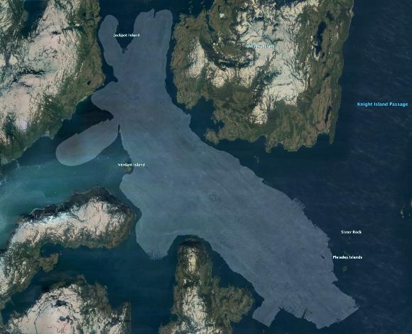 Map showing acoustic-backscatter data southwest of Chenega Island