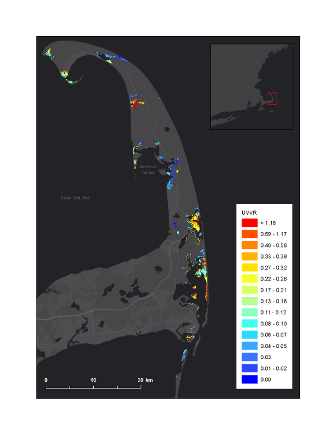 Graphic that shows unvegetated to vegetated marsh ratio in CACO salt marsh co