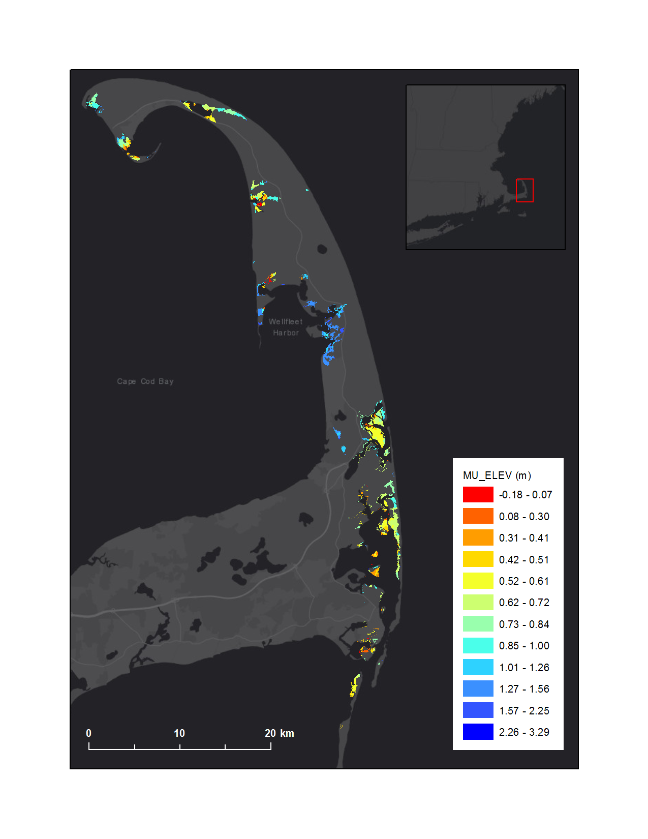 Graphic that shows elevation in marsh units of CACO salt marsh complex overlaying Esri basemap.