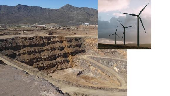 Mountain Pass REE mine, CA (B. Van Gosen, 2018); wind turbines that contain REE