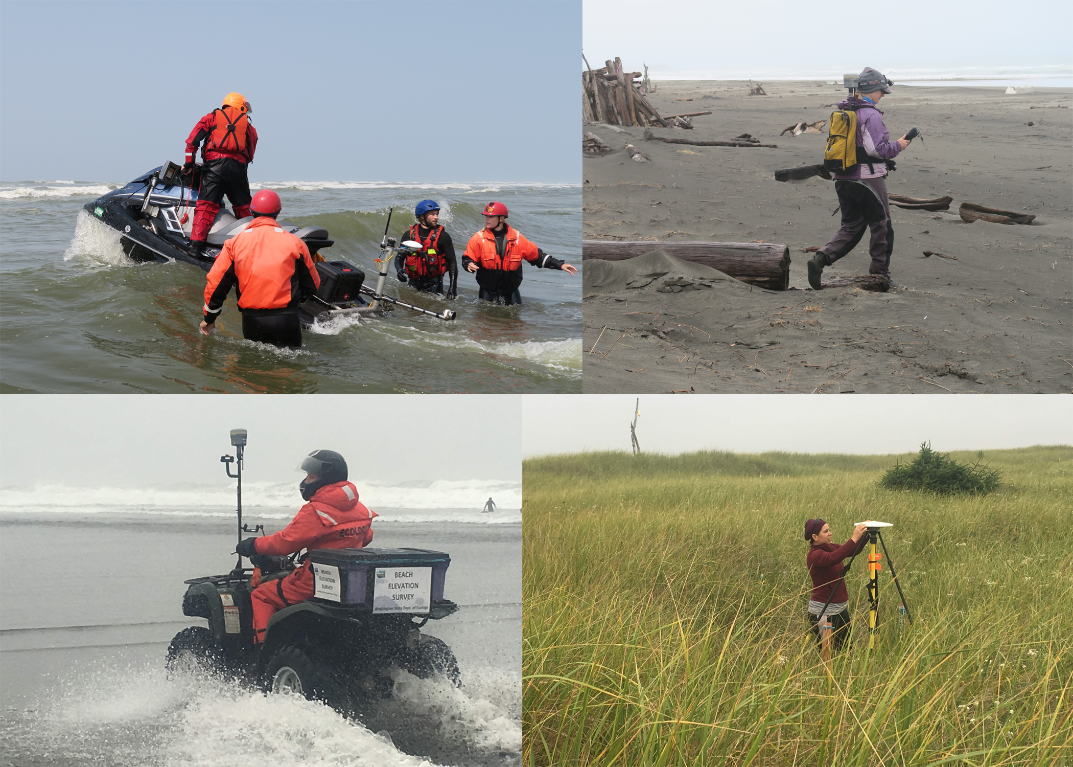 Photographs showing equipment used during bathymetric and topographic surveys along the Columbia River littoral cell, Washington and Oregon.