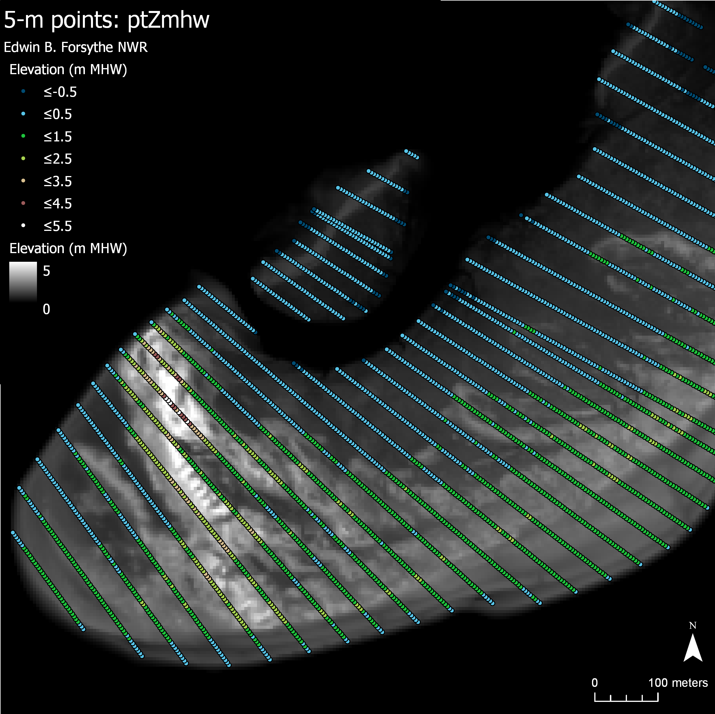 Example views of the 5-m points, which follow the cross-shore transects. The points were projected from the 'seg_x' and 'seg_y' and overlaid on the DEM. Two panels include the shoreline delineation (larger work). The points are colored by a different variable in each panel, as labeled.