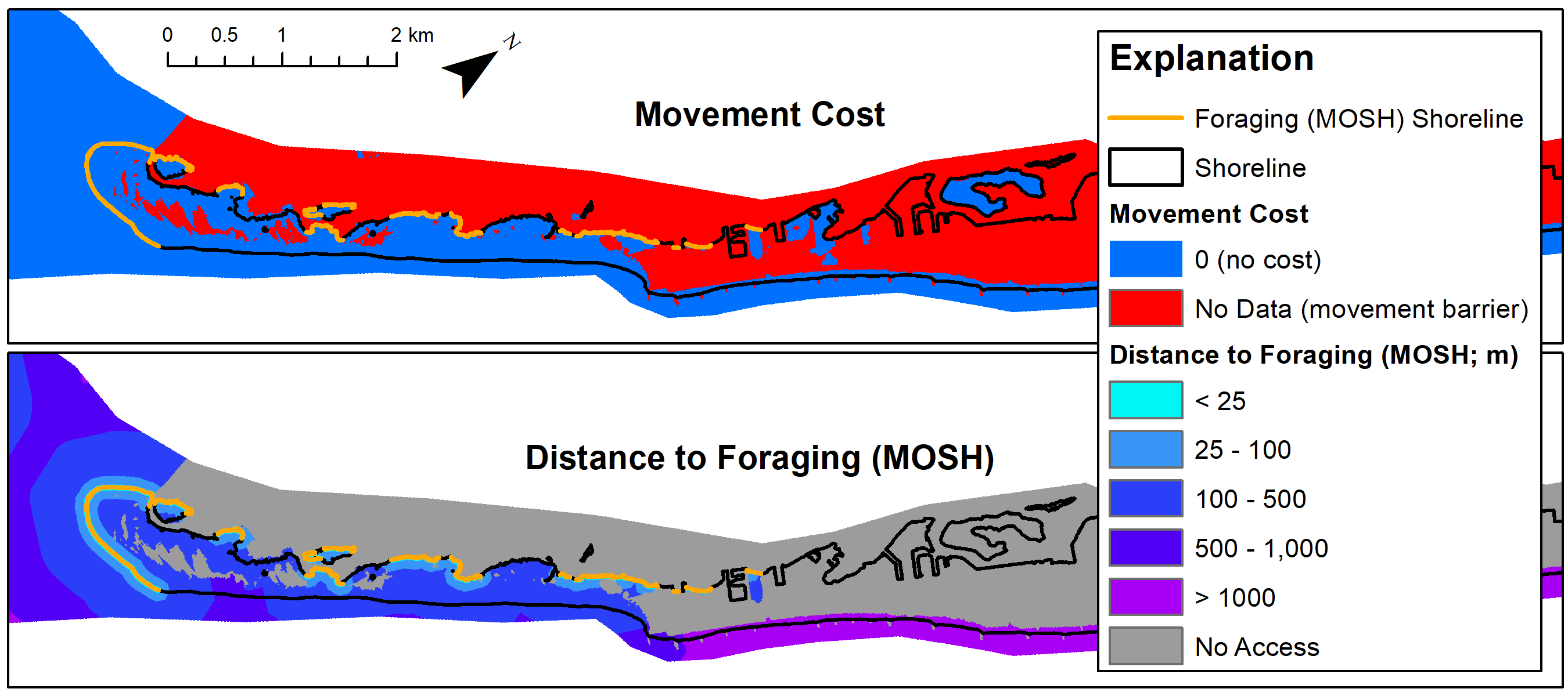 Example of the movement cost (resistance) layer and the least-cost path distance to low-energy foraging areas used by piping plovers on Edwin B. Forsythe NWR, New Jersey. The foraging shoreline is displayed in orange overlaid on both layers.