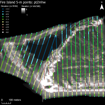 Example views of the 5-m points, which follow the cross-shore transects. The ...